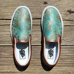 The base shoe used is a premium leather Vans Classic Slip-On. It is completely customized with Chef's now signature patina effect. Copper Metallic accents complete the look. The result is an amazing and beautiful piece of wearable art. Western Shoes, Western Chic, Painted Vans, Painted Shoes, Vans Slip On, Slip On Shoes, Vans Motif, Custom Vans Shoes, Custom Slip On Vans