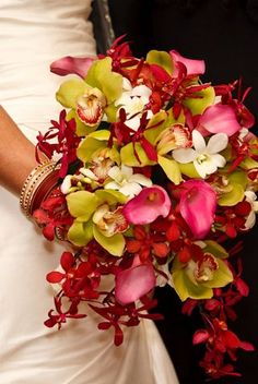 pink and green bridal bouquet | orchids and calla lillies |  fresh, unique, bold fun bouquet