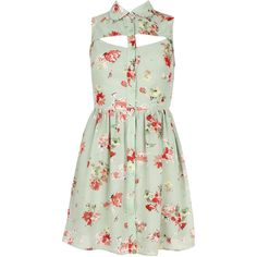 Mint Floral Chiffon Cut Out Sleeveless Summer Dress (€41) ❤ liked on Polyvore featuring dresses, vestidos, tops, floral, mint dress, cut out dress, mint chiffon dress, sleeveless dress and mint floral dress
