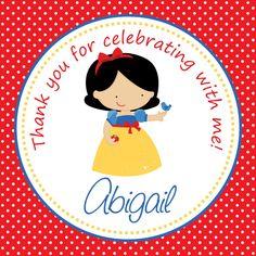DIY - Snow White Inspired Birthday Girl Favor Tag -Printable File 16. $5.00, via Etsy.