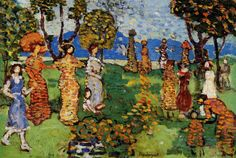 Reproduction Painting Maurice Prendergast A Day in the Country, Hand-Painted Reproductions Art Oil On Canvas American Impressionism, Post Impressionism, William Glackens, Impressionist Artists, Commercial Art, Manet, Art Database, Pointillism, Oil Painting Reproductions