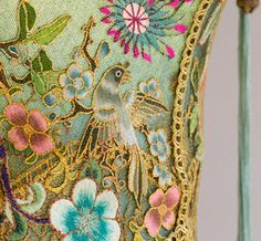Victorian Lampshade with Antique Chinoiserie Textiles