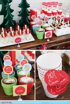 Christmas Hot Chocolate Stands For Your Holiday Party Christmas Candy Bar, Christmas Hot Chocolate, Diy Christmas Gifts For Family, Hot Chocolate Bars, Christmas Desserts, Christmas Treats, Christmas Cookies, Christmas Pajama Party, Hot Coco Bar