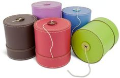 These leather string boxes are perfect for the garden or kitchen.