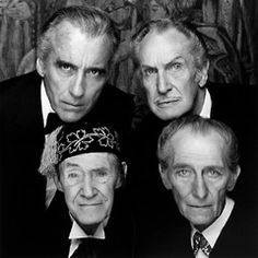 """ Os quatro cavaleiros do Apocalipse Christopher Lee, Vincent Price, John Carradine and Peter Cushing, 1983 -by Terry O'Neill "" Terry O Neill, Hollywood Stars, Classic Hollywood, Old Hollywood, Vincent Price, Film Maker, John Carradine, George Peppard, Blake Edwards"