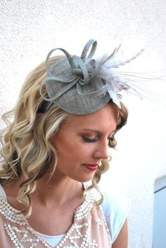 Gray Fascinator Women's Tea Party Hat Tea Party by QueenSugarBee