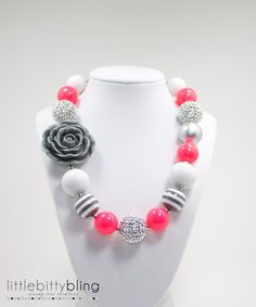 Hot Pink and Grey Chunky Necklace, Girls Chunky Necklace, Girls Bubblegum Necklace, Chunky Bead Necklace, Children's Necklace on Etsy, $20.00