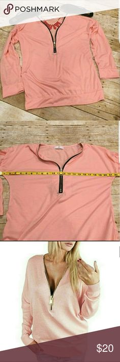 SEXY LONG SLEEVE Lightweight zipper summer top Brand new without tags. Lightweight long sleeve sexy shirt with a center exposed zipper and gold hardware. This peachy pink salmon color will look great with all skin tones.  It is a summer wardrobe staple that will take you into fall and then back to spring. The 1st & 2nd pictures most accurately reflect the true color. Please ask any questions prior to purchasing. Tops Tees - Long Sleeve