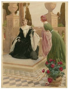 James Durden. The Two Gentlemen of Verona. Act 1, Scene 2. Julia and Lucetta in the garden. Watercolor, late 19th or early 20th century. Folger Shakespeare Library.