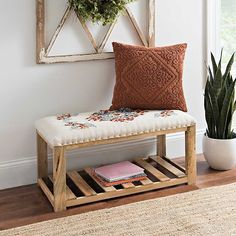 You'll be instantly charmed by this cozy and comfortable Floral Embroidered Bench with Wood Base! It's perfect for any space in need of a little extra seating. Wooden Pallet Furniture, Bench Furniture, Living Room Furniture, Home Furniture, Entryway Bench Storage, Bench With Storage, Wood Plank Shelves, Diy Home Decor, Room Decor