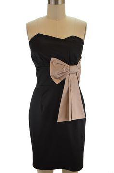 strapless sweetheart little black dress - blush & black