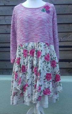 A lovely soft light sweater dress in shades of pink and white and a touch of green. Double layered petticoat skirt with embroidery / broderie anglaise detail and pink roses. Stiched corsage detail at collar. Easy to wear, unique and one of a kind! Measurements: Bust 52 inches laid flat ,