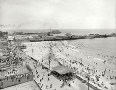 "The Jersey shore circa 1906. ""Beach and Boardwalk, Atlantic City."""