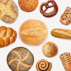 Bakery top view collection Premium Vector