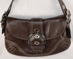 Coach Brown Leather Buckle Flap Small Handbag Shoulder Bag F10188 #Coach #ShoulderBagHandbag