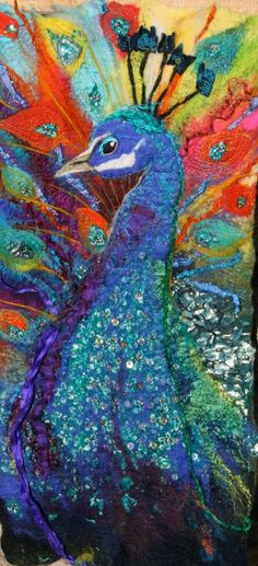 "Glorious work by felt artist Debra Esterhuizen ""Indian Jewel"" - Hand felted silk and Merino wool with sari embelishment. More at: http://www.debraesterhuizen.com/home.html"