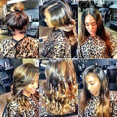 sosaddity Middle part Side Part High Bun Tam Curls