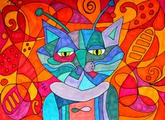 Michelle Langley Space Cat  Abstract ink