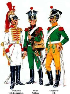 Grand Duchy Of Warsaw 1813. L to R Trumpeter 14th Cuirassiers, Horse artillery & 5th Chasseurs