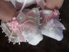 "Dream New Baby Dolls Crystal Guipure Frilly Socks Reborn 17 19"" | eBay"
