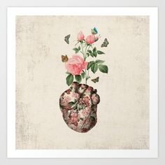 heart, rose, butterfly, valentine's day art