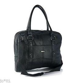 REAL LEATHER Laptop Case Office Work Shoulder Ladies Mens Handbag Bag | eBay
