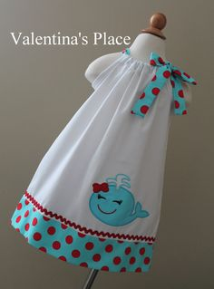 New Summer Whale Girl pillowcase dress by Valentinasplace on Etsy, $29.00