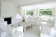 Amazing All White Living Room