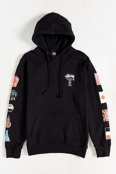 Stussy World Tour Flags Pullover Hoodie Sweatshirt