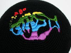 kippah with hebrew Phish logo ready for shipping by crochetkippah