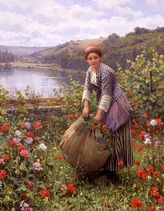 The Grass Cutter by Daniel Ridgway Knight - 32 x 26 inches Signed and inscribed Paris paris salon french academic genre rolleboise women in gardens figures figurative flowers 31947478578183471 Louis Aston Knight, Canvas Artwork, Oil On Canvas, Grass Cutter, Victorian Paintings, Mary Cassatt, Knight Art, Cottage Art, Art For Art Sake