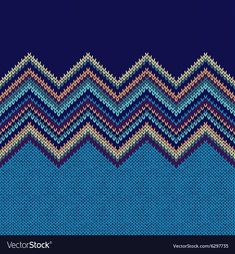 Seamless knitting Christmas pattern with wave ornament in blue yellow orange violet color Knitting Charts, Knitting Patterns, Pattern Paper, Fabric Patterns, Butterfly Cross Stitch, Flower Frame, Tapestry, Couture, Embroidery