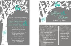 Love Owls Wedding Invitation Suite: with matching RSVP   grey and yellow. $1.60, via Etsy. i need this!