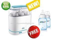 PHILIPS AVENT 3 in 1 Electric Steam Steriliser Free PHILIPS AVENT PP Pink / Blue Feeding Bottle (260ml/9oz) x 1 Bottle RM279.00