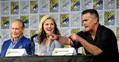 Actors Lee Majors, Lucy Lawless and Bruce Campbell on stage during the #AshVsEvilDead panel during #SDCC2016