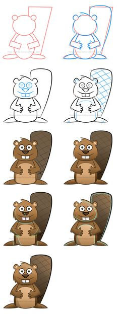 Learn how to draw this adorable cartoon beaver in just a couple of easy steps. #cartoonbeaver #howtodraw #beaver #drawinglessons