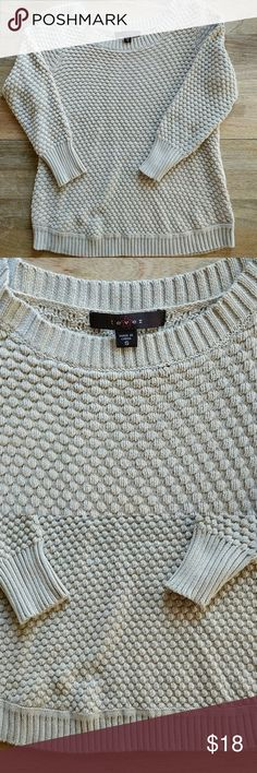 Fever cream sweater Only worn once! 3/4 sleeves and very light. fever Sweaters Crew & Scoop Necks
