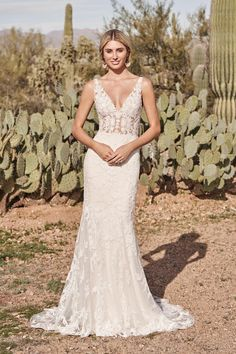 Show off your shape in this sparkly fit and flare wedding gown. The sexy illusion bodice is designed with a V-neckline and open V-back. Sequined and beaded lace embellish the gown while jersey lining adds comfortable stretch. Pair this style with its matching detachable overskirt for a second look! Offered separately as 66162SK. For more coverage, this dress is also available with the front bodice lined to the side seams. Lace Wedding Dress, Fit And Flare Wedding Dress, Dream Wedding Dresses, Flare Dress, Boho Wedding, Allure Bridal, Lillian West Wedding Gowns, Bridal Elegance, Sequins