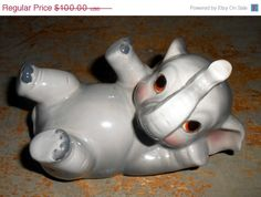 ON SALE Vintage Elephant Bank, Norcrest, Ceramic, Elephant Figurine, Piggy Bank, Nursery Room Decor, Coin Bank, Norcrest B K 6