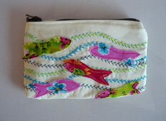 Fish applique and embroidered cotton Purse Zip up bag £4.99