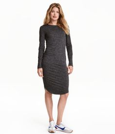 Dark beige. Calf-length dress in melange jersey with long sleeves and a rounded hem.
