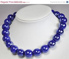 Royal Blue NecklaceStatement Necklace  17185 Inches by GemPearls, $20.00