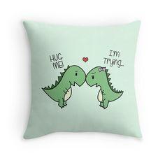 Dino Love! (Hug Me!) Throw Pillows