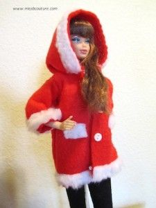 Barbie Christmas coat tutorial, made of felt.  Try this one for mini American Girl.
