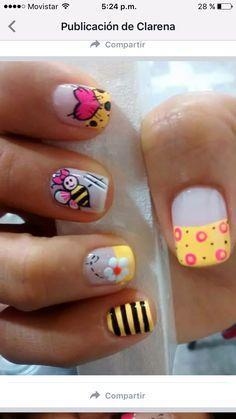 Cute Pedicure Designs, Cool Nail Designs, Acrylic Nail Designs, Acrylic Nails, Classy Nails, Fancy Nails, Spring Nails, Summer Nails, Bee Nails
