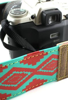 Turquoise & Red Native American Camera Strap by couchguitarstraps, $34.95