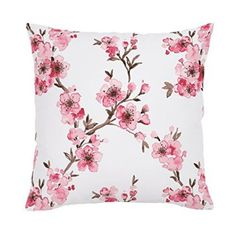 Carousel Designs Pink Cherry Blossom Throw Pillow 18-Inch Square Size Cherry blossom décor is a great way to life, beauty and peace to your home.  You can find all kinds of cherry blossom decorating ideas by looking at cherry blossom wall art, cherry blossom accent pillows and other cherry blossom decorative accents.  Effortlessly use this type of décor in your bedroom, living room and bathroom and perhaps gain some inspiration from it to spruce up areas of your home.