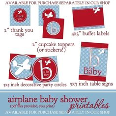 646e694c4 Airplane Baby Shower Invitation - Plane Boy Shower Invitation - Red Blue  Airplane Invite - Printable JPEG or PDF with free thank you tags