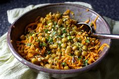 Gluten-free: carrot salad with lemon, tahini, crispy chickpeas