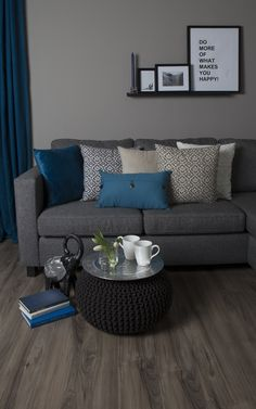 Love the blue and grey colors Grey Colors, Living Room Inspiration, Living Room Decor, Condo, Happiness, Store, Blue, Drawing Room Decoration, Bonheur